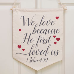 We Love Because Banner