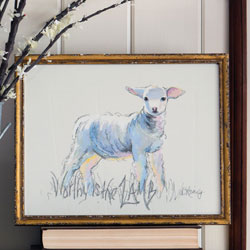 Worthy is the Lamb - Print in Gold Frame